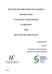 HSE Healthcare risk waste management